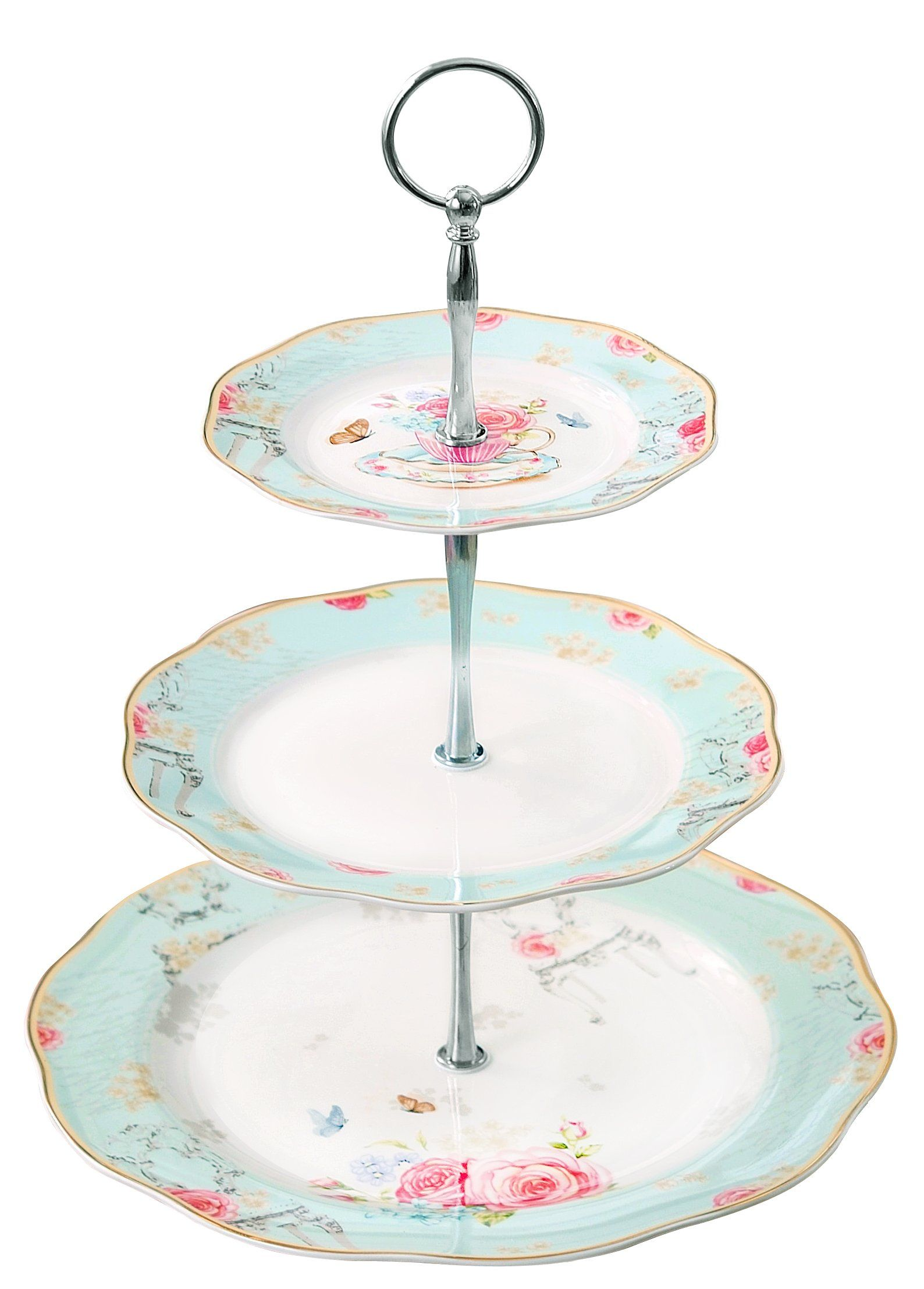 Jusalpha Light Blue 3-tier Ceramic Cake Stand- Cupcake Stand- Tea ...