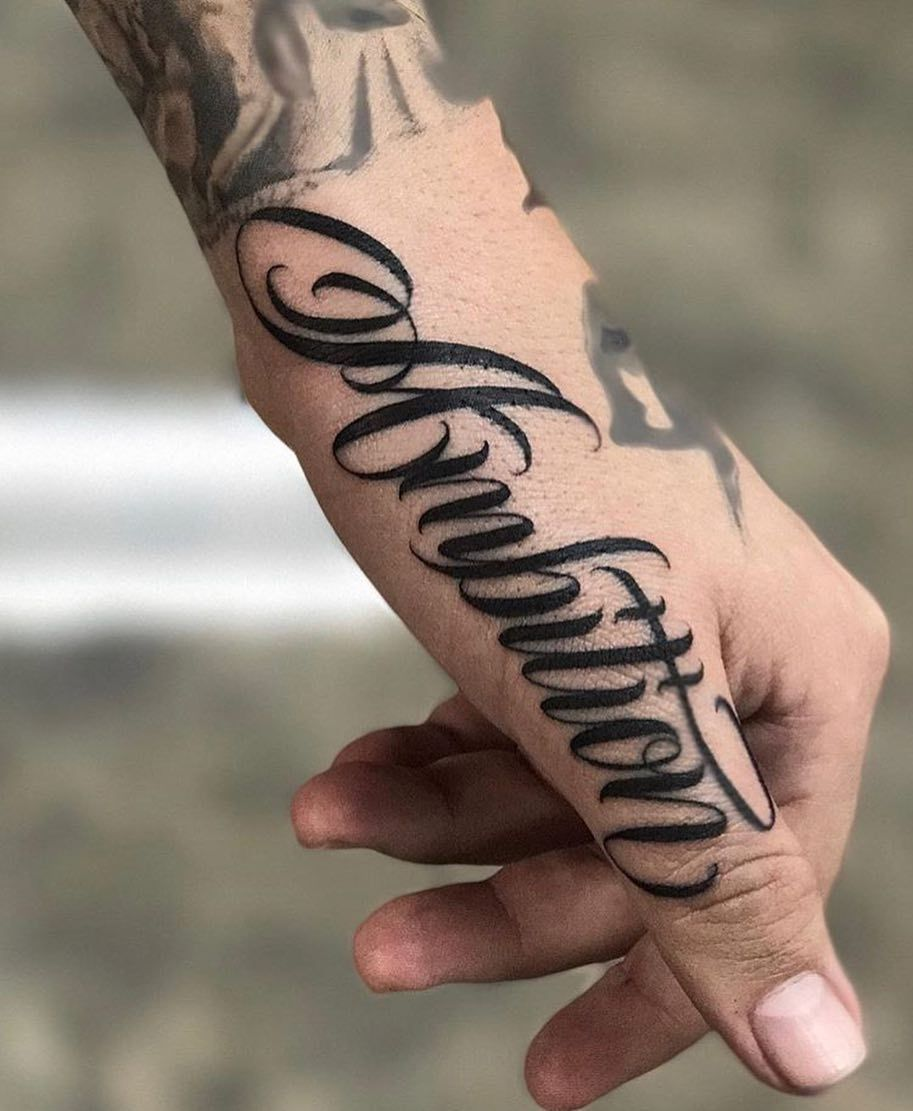 Ambition Tattoo Hand Tattoos For Guys Tattoo Lettering Fonts
