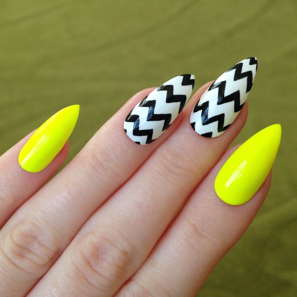 Popular items for black stiletto nails on Etsy | MY NAIL COLLECTION ...