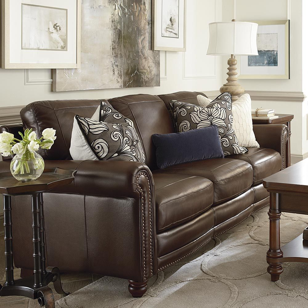 hamilton sofa brown couch living room leather living