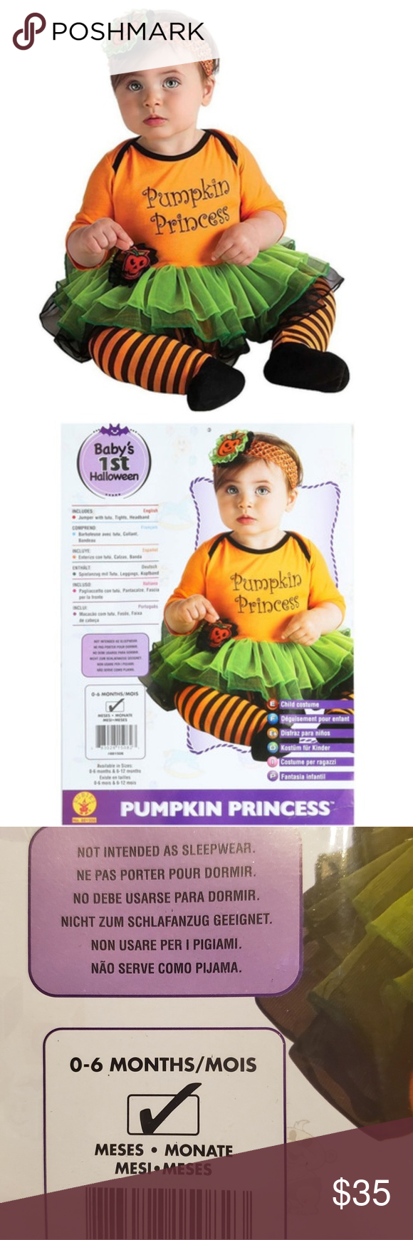 Pumpkin Princess Halloween Costume, 0-6 mths **Bundle and I'll make an offer** Adorable pumpkin princess costume for infants Includes jumper with tutu, tights, and headband Perfect for Halloween, dress up, and more! Ages 0-6 month Costumes Halloween