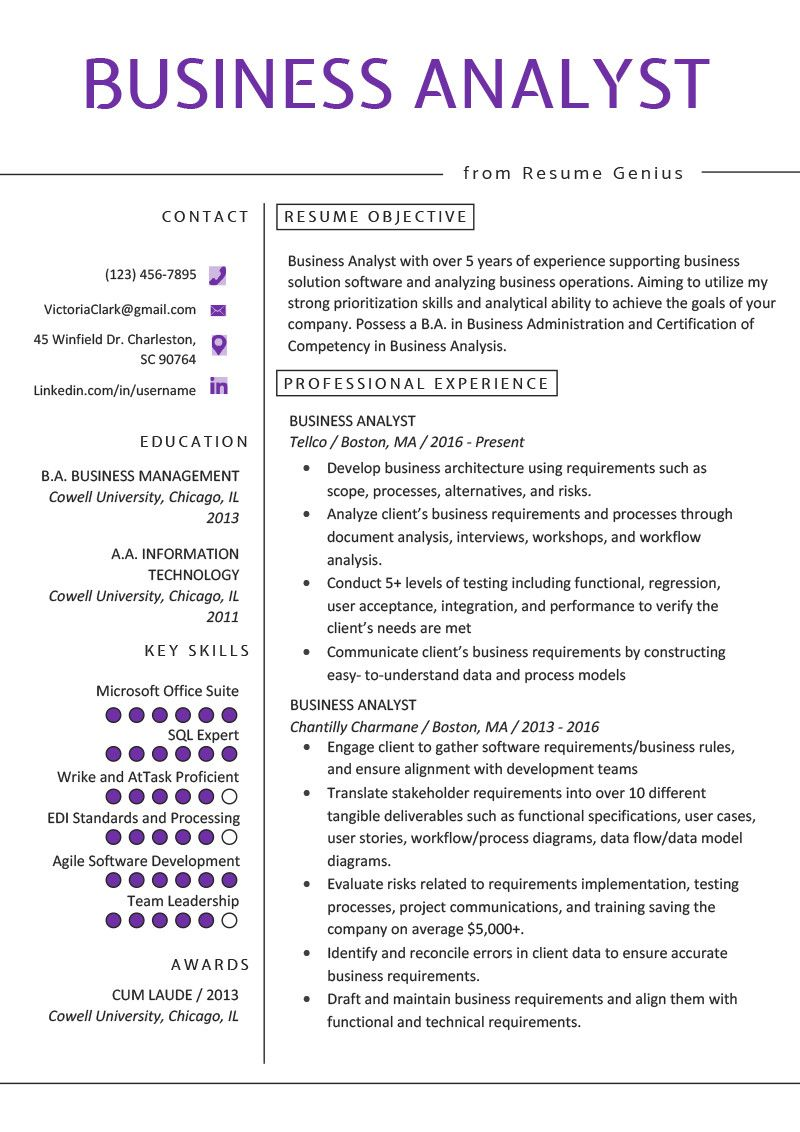 It Business Analyst Resume Innovative Business Analyst