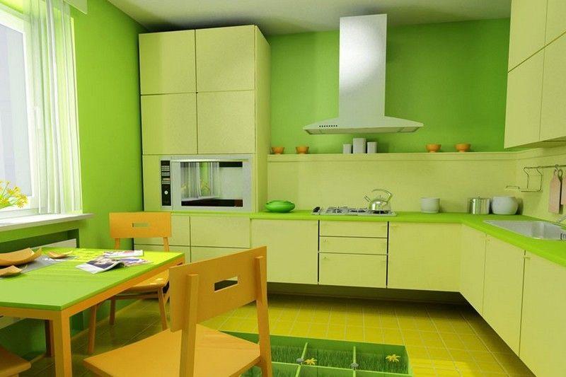 Зеленый цвет в интерьере кухни для вегетарианцев ...