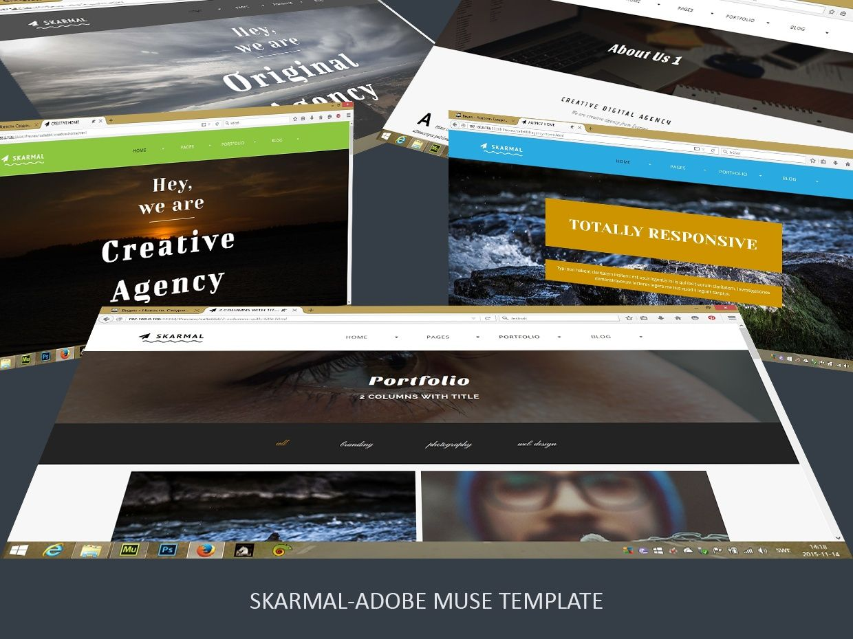 Skarmal adobe muse template free icon icons and fonts desktop version multipurpose 47 pages creative theme animated free icons free fonts muse widgets preview accmission Gallery