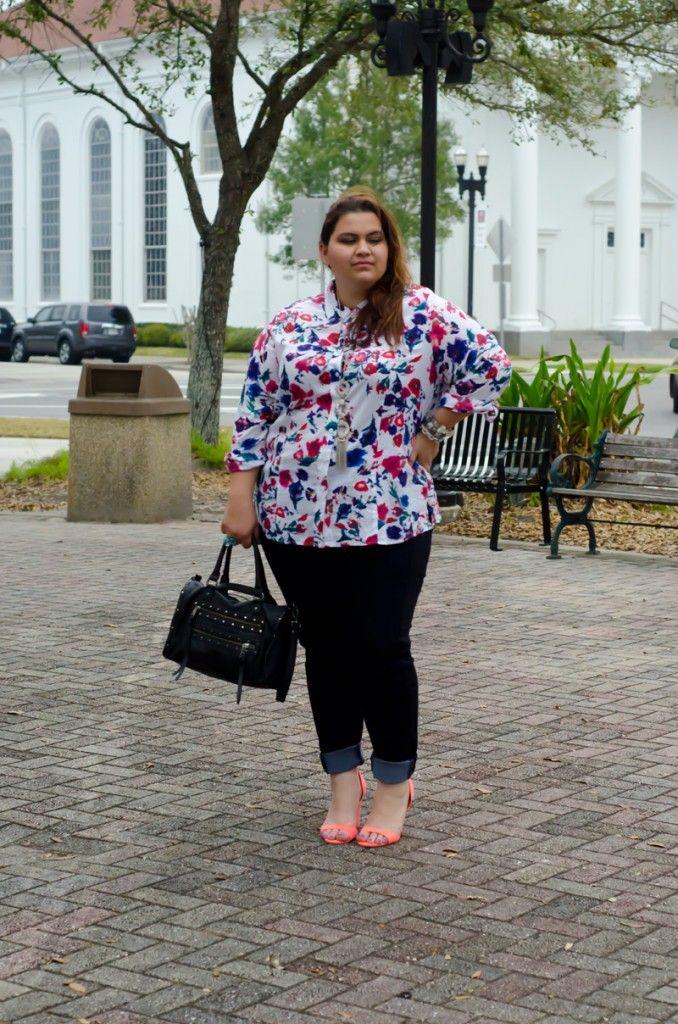 Foxcroft Floral Blouse on plus size fashion blog Kirstin Marie