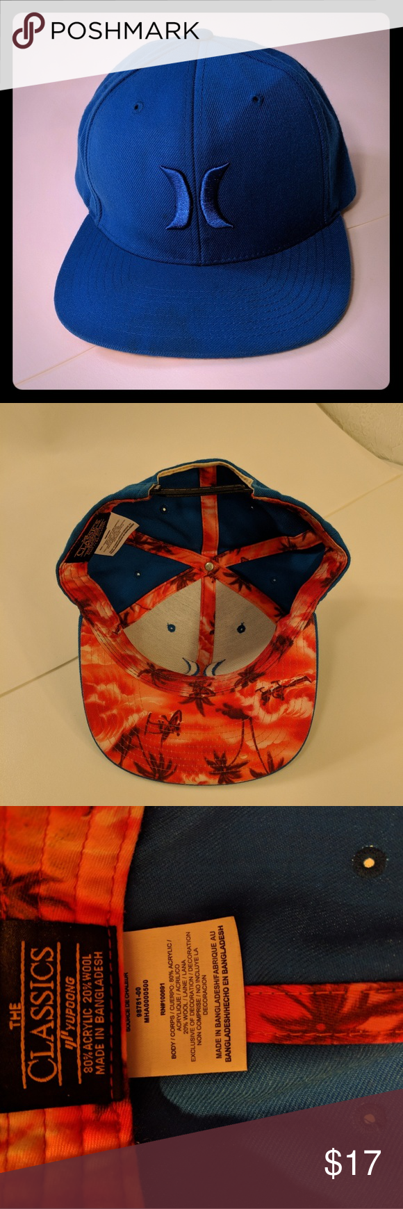 6d8e7767c4a9b Hurley The Classics Yupoong Snapback w  Palm Trees Blue cap with reddish  orange Palm Tree and Surfer Graphic inside. In Very Good Pre-owned  Condition.