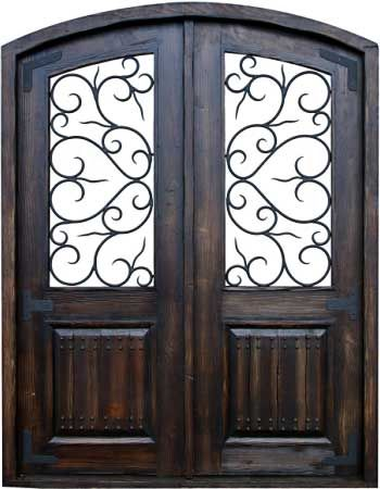 Rustic Custom Wood Wrought Iron Doors W306
