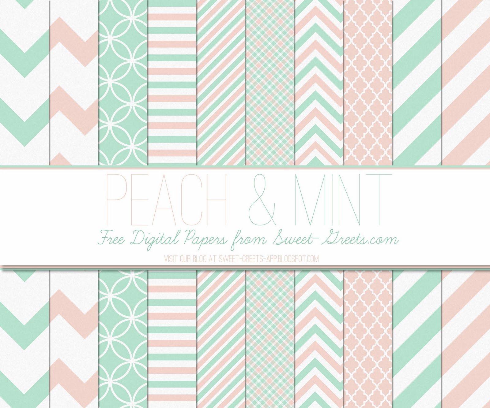 Free Peach and Mint Digital Paper Set Digital paper