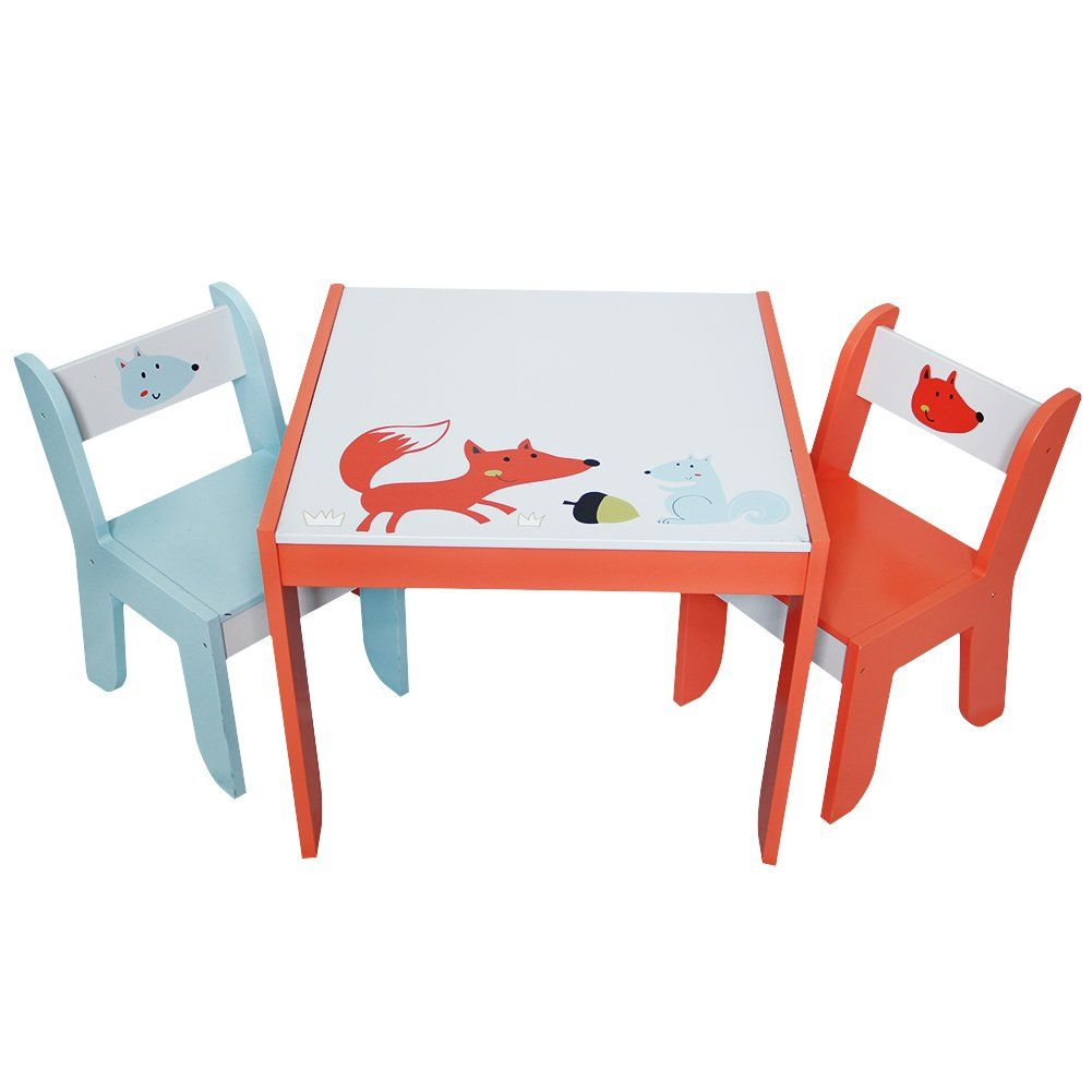 Labebe Wooden Activity Table Chair Set Fox Printed White Toddler Table for 1-5  sc 1 st  Pinterest : toddler activity table and chair set - Pezcame.Com