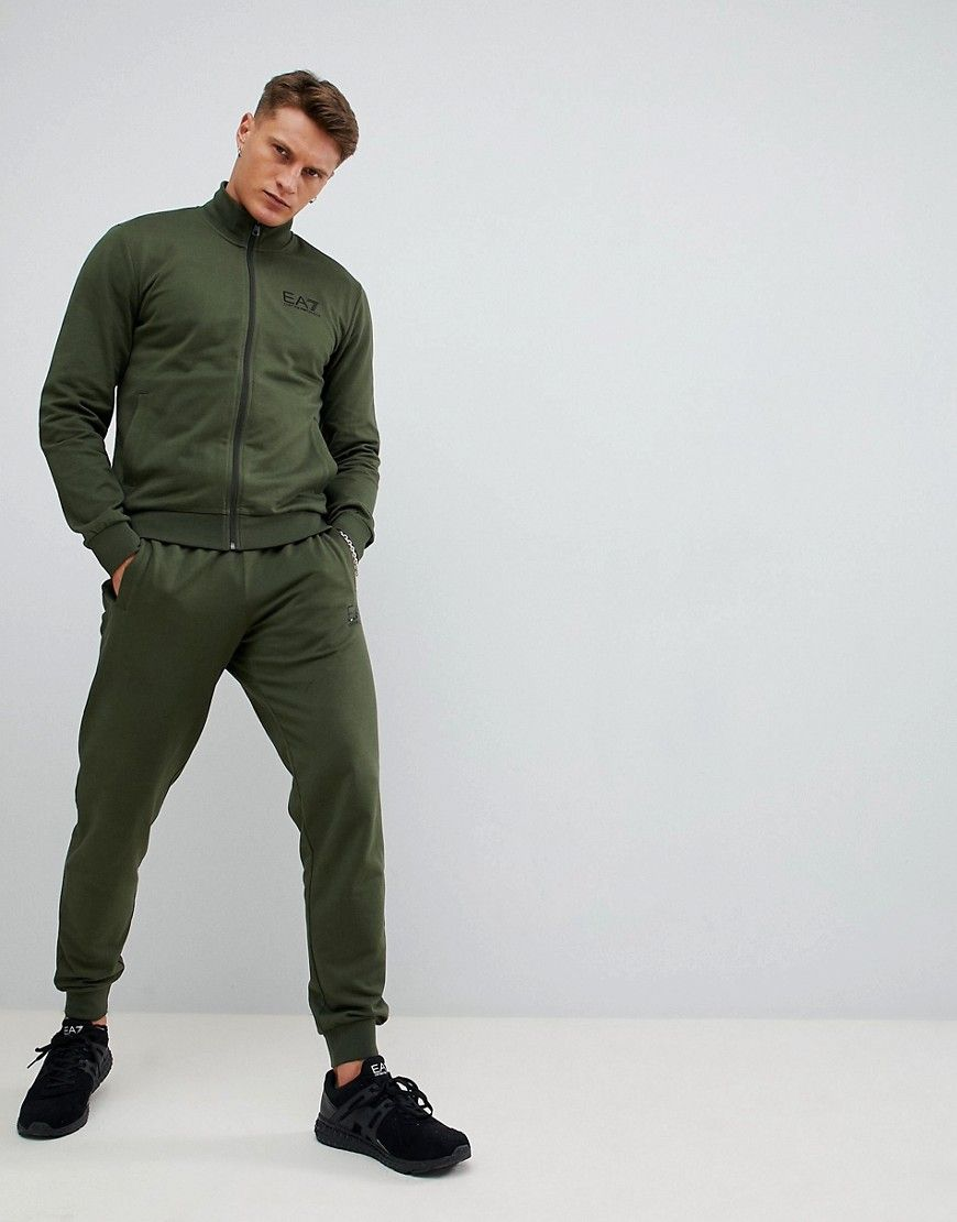 552a07f107 EA7 TRAIN CORE ID COTTON ZIP-THRU LOGO TRACKSUIT SET IN KHAKI ...