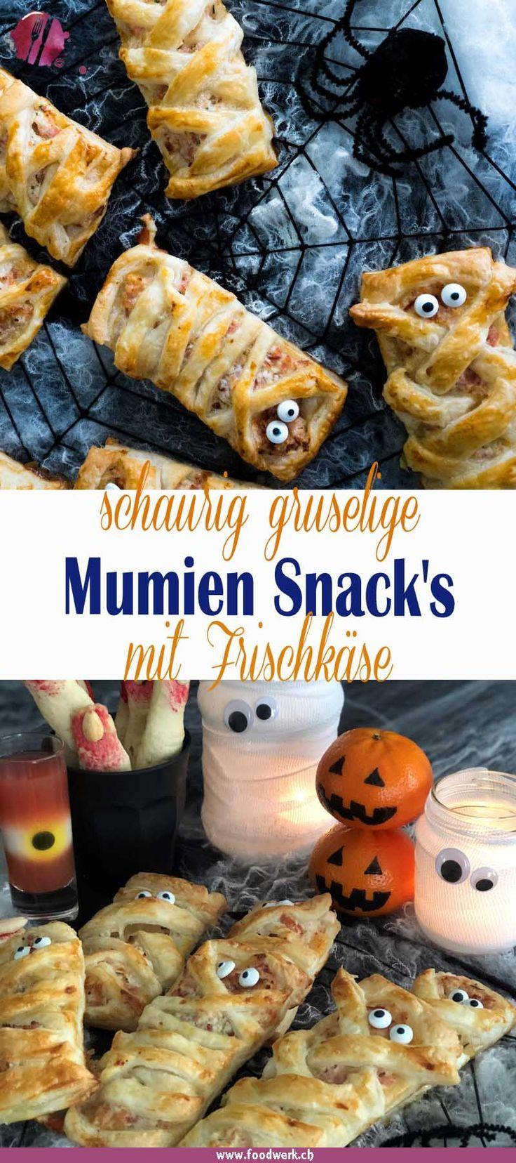 Gruseliger Mumien Halloween Snack mit Schinken und Käse | Food-Blog Schweiz | foodwerk.ch #halloweenkuchen