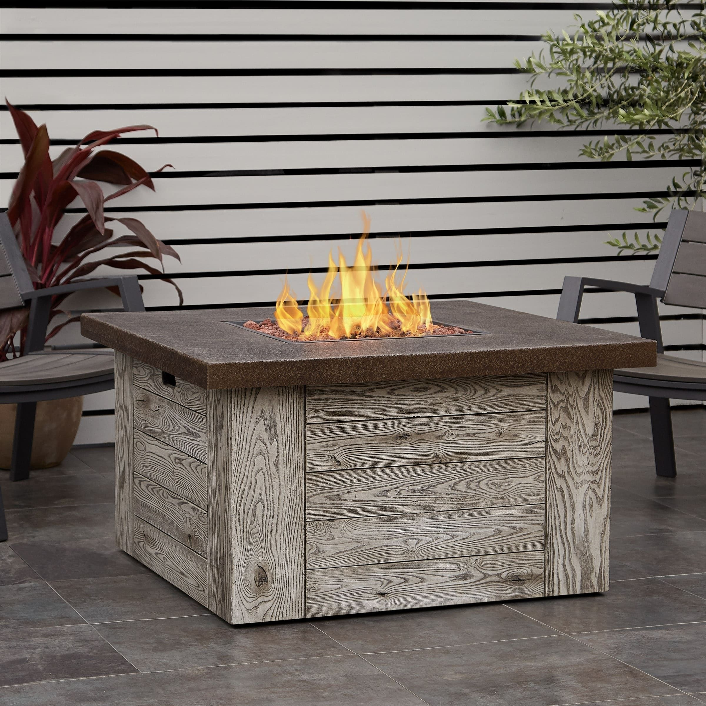 Real flame forest ridge grey concrete gas fire table outdoor décor