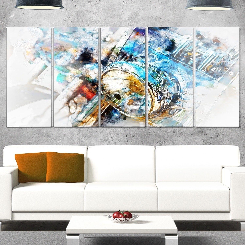 Designart umotorcycle headlight watercoloru modern metal wall art
