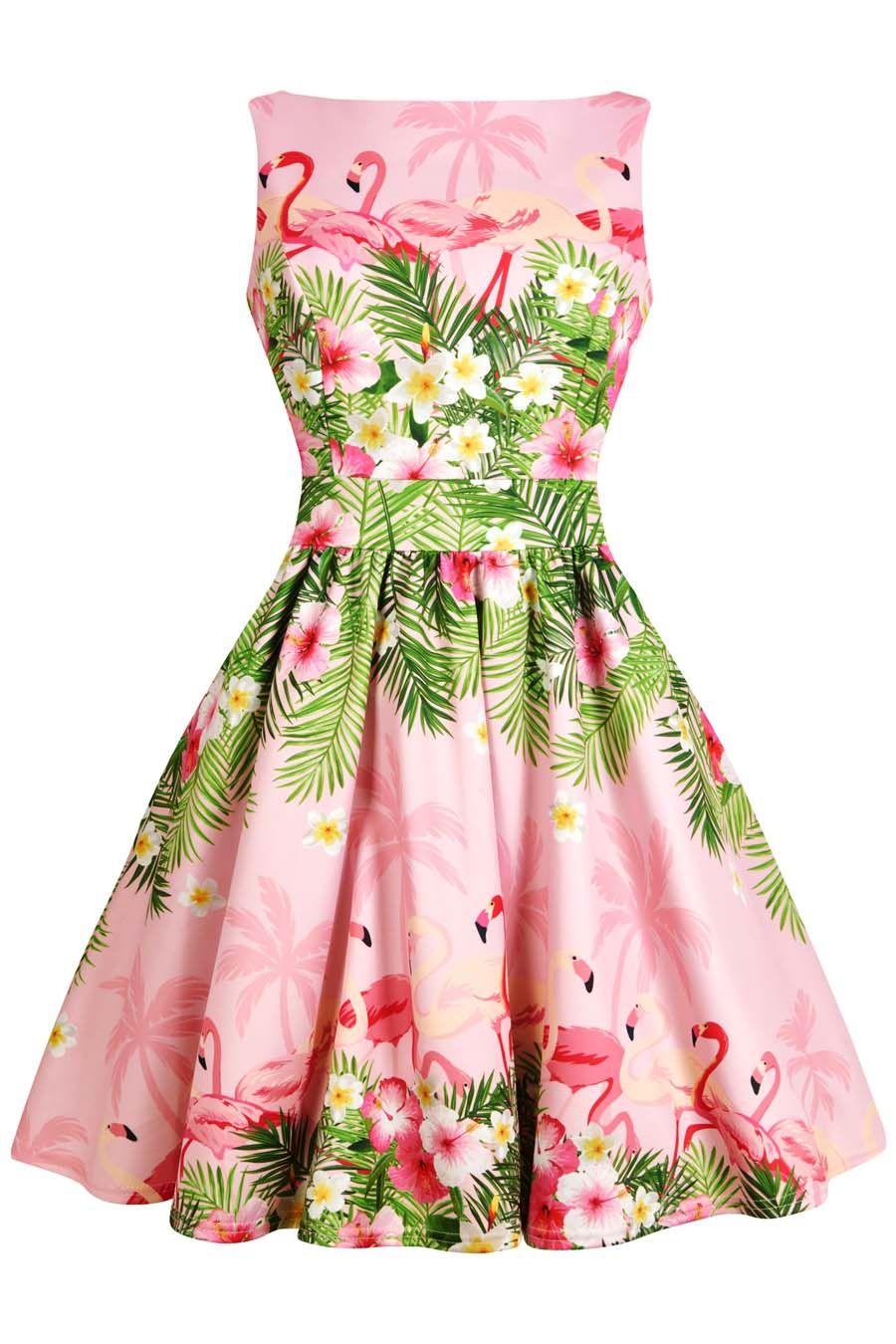 35cba69a28b Elsie sAttic - Pink Flamingo Border Print Tea Dress