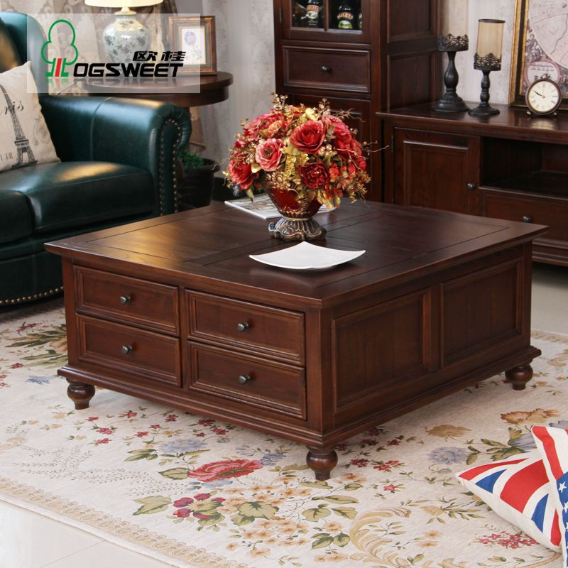 Large square storage coffee table tables with designs 5