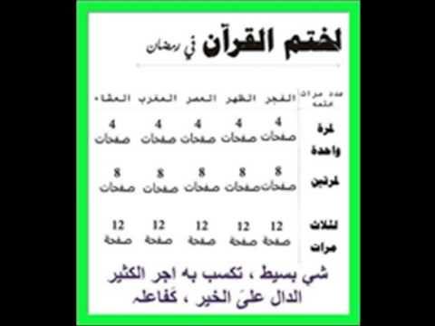 وصفة ذهبية لختم القران الكريم في رمضان من مرة الى ثلاث مرات بكل يسر وسهو Ramadan My Love Youtube