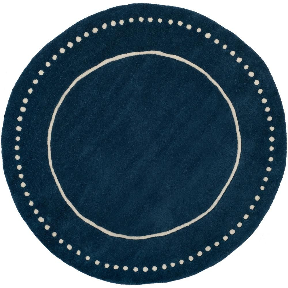 Bella Navy Blue Ivory 5 Ft X Round Area Rug
