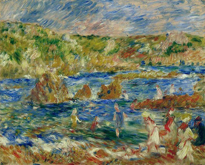 Children on the Beach at Guernsey,1883.  Renoir