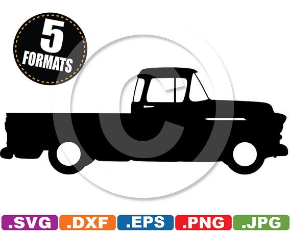 1955 Chevy Pickup Silhouette Clip Art Image - svg & dxf cutting ...
