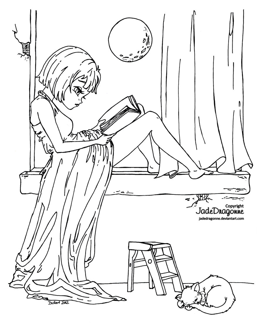 The reader - lineart by JadeDragonne.deviantart.com on @deviantART ...