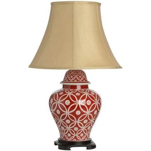 Athos Cream Red Patterned Ceramic Table Lamp