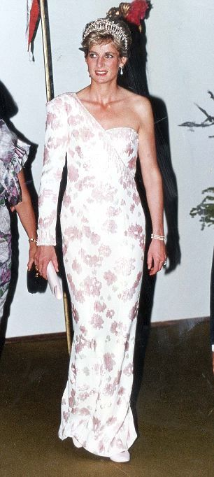 Diana, Princess of Wales attends Itamaraty Place in 1991.  This dress worn by The Princess will be displayed to the public after being purchased by the Historic Royal Palaces charity on 20 March 2013.  The charity paid 78,000 euro for this Catherine Walker gown