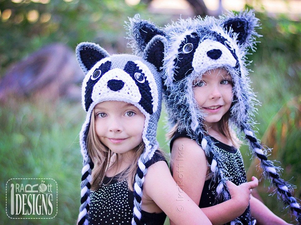 Rocky and Ricki the Raccoons PDF Crochet Hat Pattern by IraRott Inc.