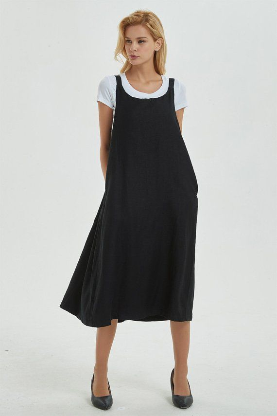 Black Pinafore Dress Linen Dress Loose And Casual Dress For Womens