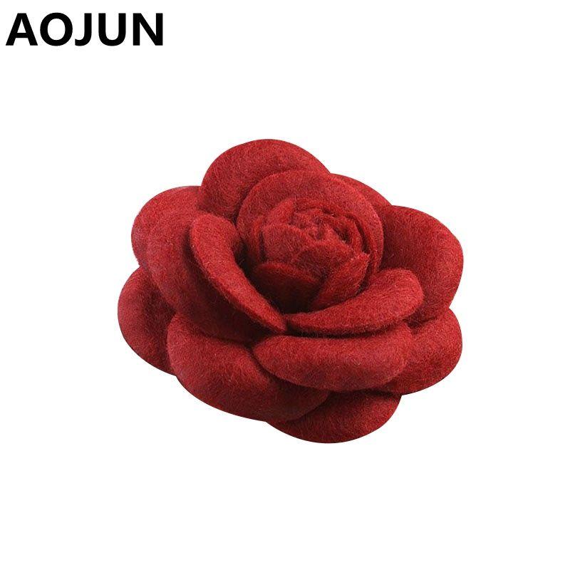 우아한 장미 큰 꽃 브로치 패브릭 동백 브룩 옷깃 핀 웨딩 브로치 수제 코튼 코사지 Boutonniere의