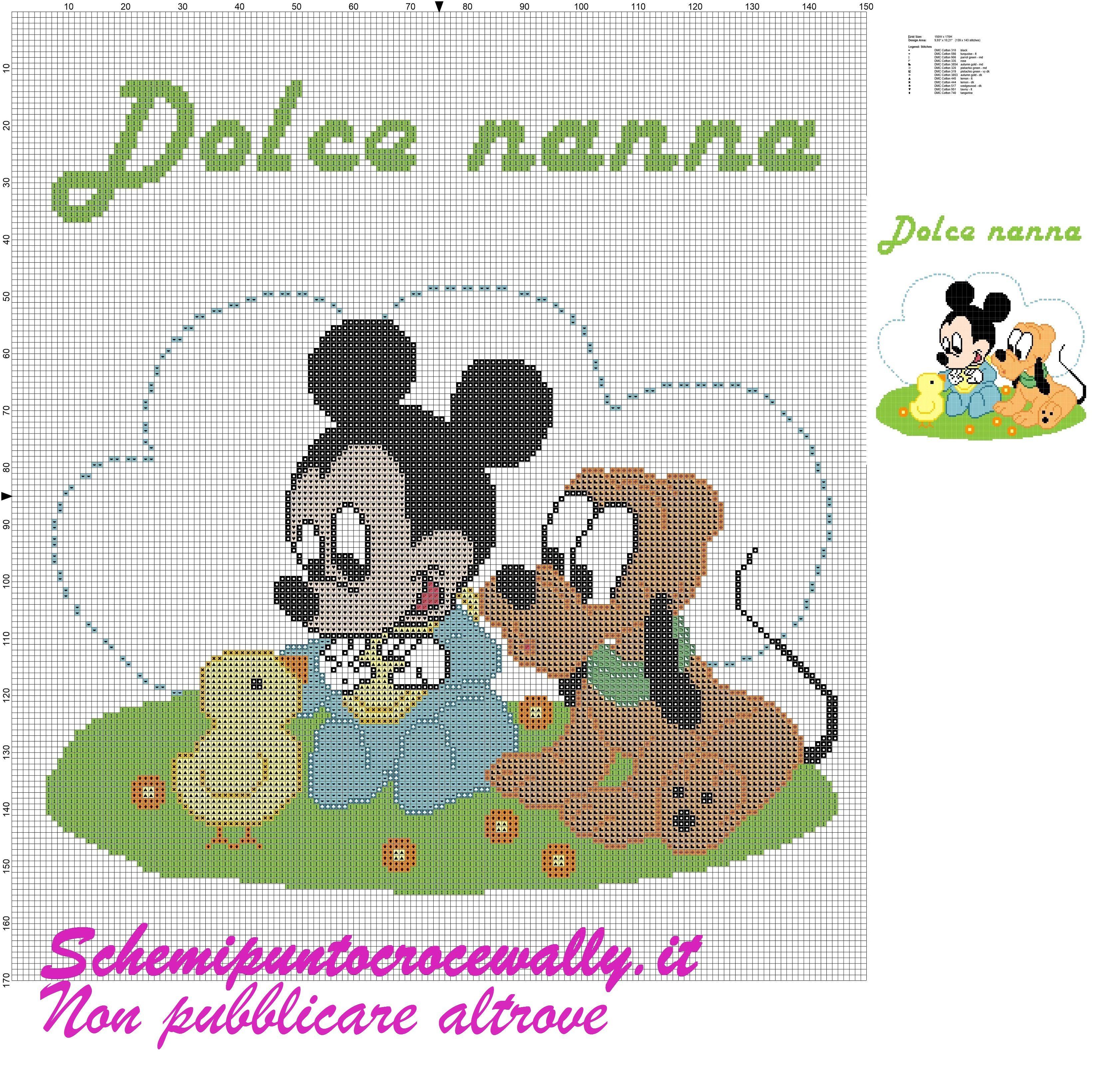 Baby topolino e pluto con pulcino schema punto croce per for Schemi punto croce pluto
