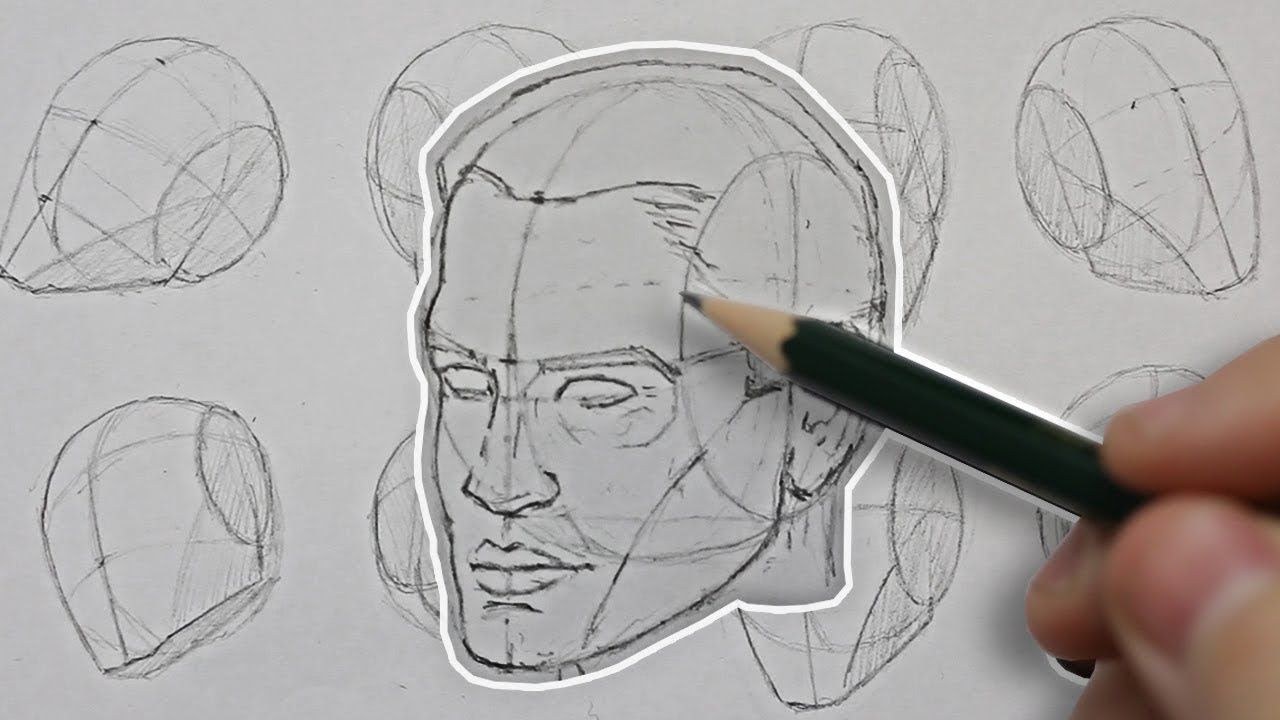 Line Drawing Of Human Face : Drawing the head from any angle basic construction explained