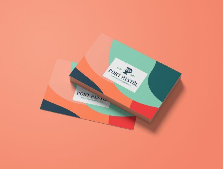 Port Pastel Business Card Business Card Design Inspiration Pastel Business Cards Unique Business Cards Design Business Card Design Inspiration