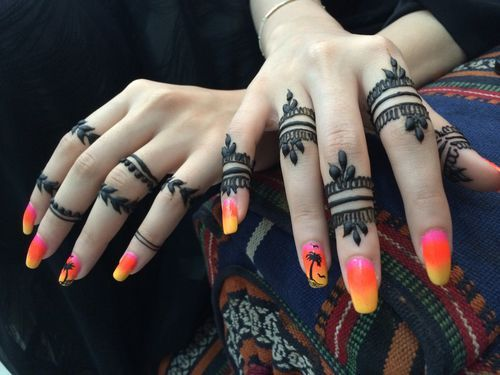 Finger Mehndi Art : Trained and professional mehndi artists in india styles at life