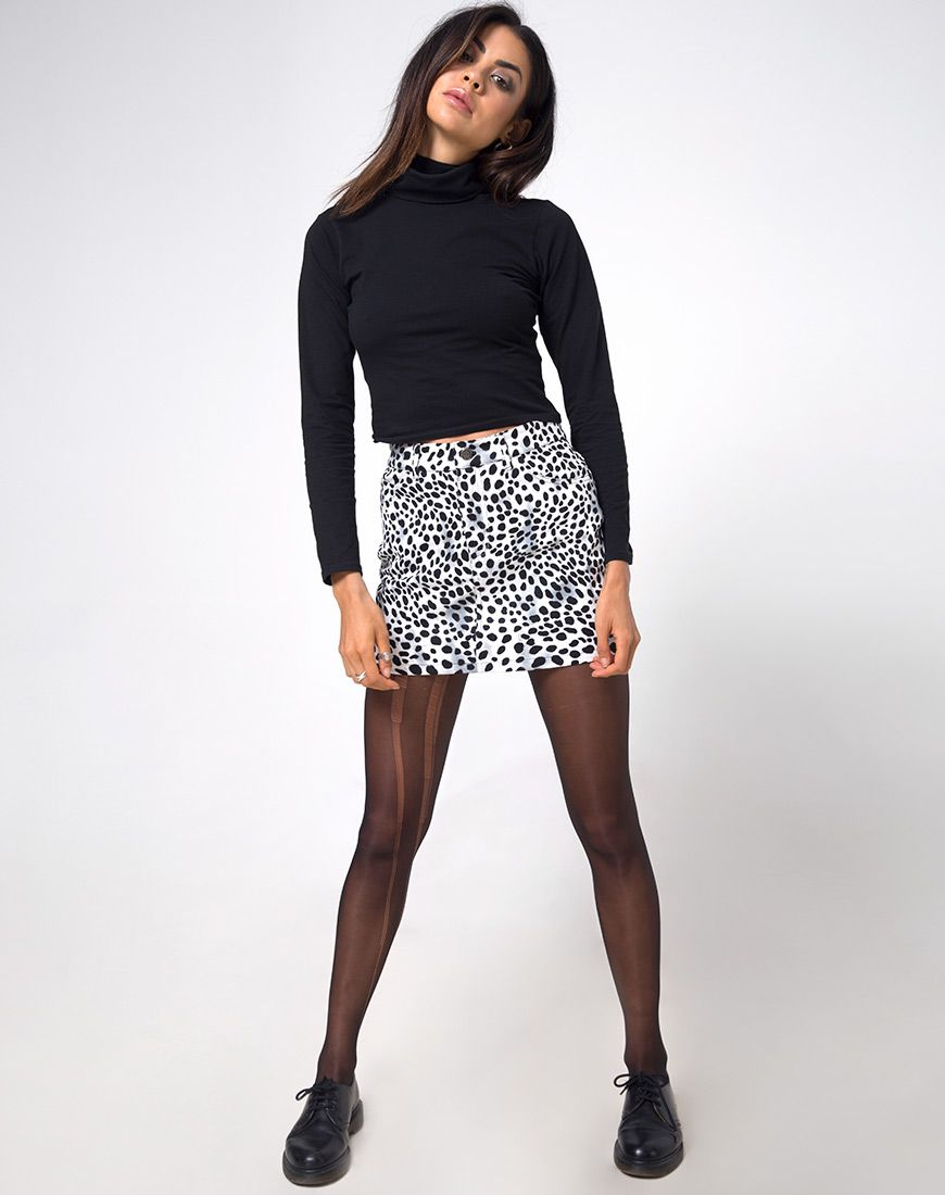b024cd169a High Waist White and Black Dalmatian Mini Skirt | Mini Broomy - Motel Rocks