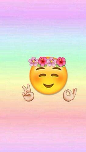 Blushing Flower Crown Peace And Other Hand Sign Emoji Wallpaper Iphone Emoji Wallpaper Emoji Backgrounds
