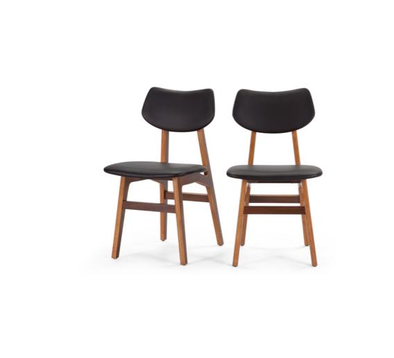 Deens Design Eetkamerstoelen.2x Jacob Eetkamerstoelen Deens Design Zwart Walnoot