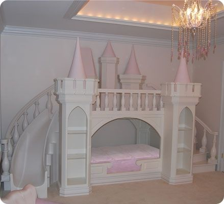 "castle bed! bed, loft, slide, tower shelves, and under the bed pull out storage...I love it!! could even be altered for boys...maybe a ""construction site"" or ""race track"""