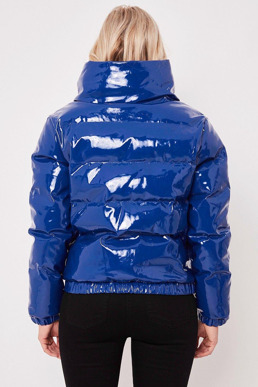 619e2337a Leah Blue High Shine Vinyl Puffer Jacket in 2019 | Women's fashion ...