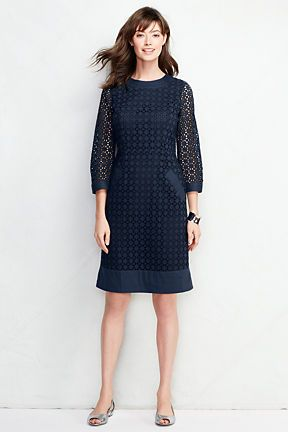 Women's Elbow Sleeve Eyelet Shift Dress from Lands' End
