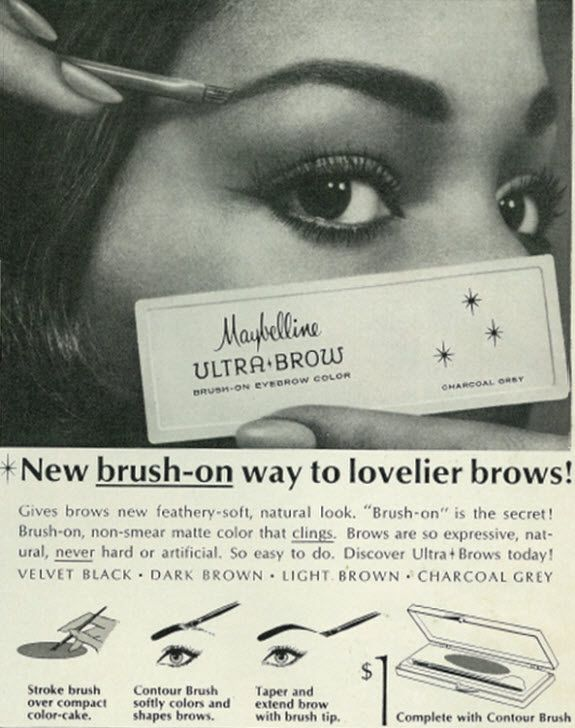 1965 Cosmetics Ad Maybelline Brush On Ultra Brow Color Make Up In