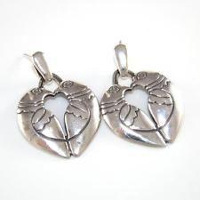 James Avery Sterling Silver Rare Retired Kissing Heart Dove Love Dangle Earrings