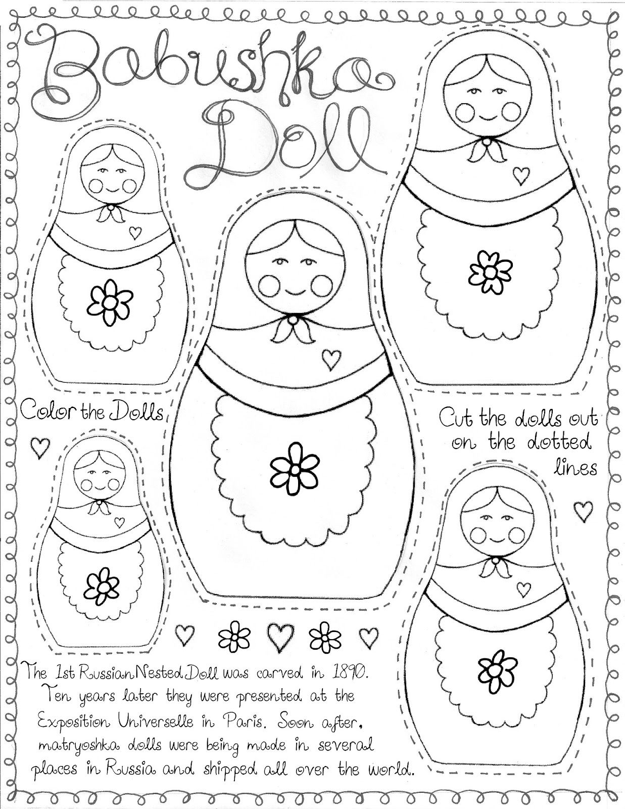 Matryoshka Doll Printable For Around The World Culture