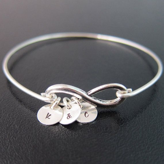 BFF Silver Sister Jewelry Personalized Infinity Bracelet and Initial Family Monogram Charm Bracelet Mothers Bracelet