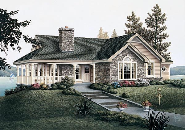 Country Style House Plan 87381 With 2 Bed 2 Bath 1 Car Garage Country House Plan Cottage Homes Ranch Style Homes