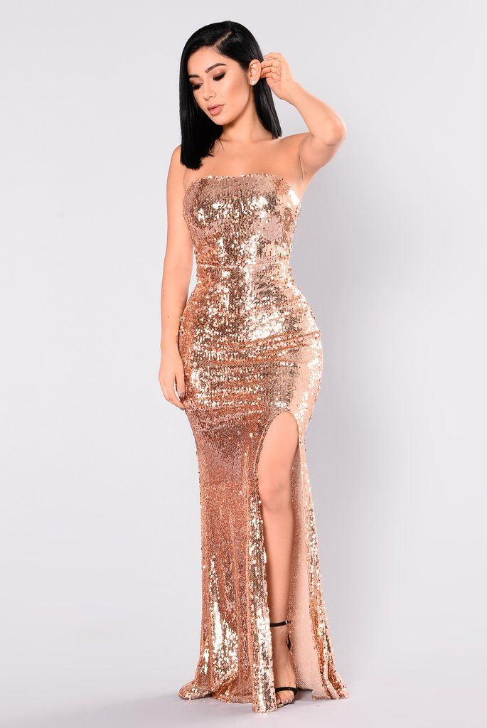 f883b97686ab Make A Scene Sequin Dress - Rose Gold | Evening Gowns in 2019 ...