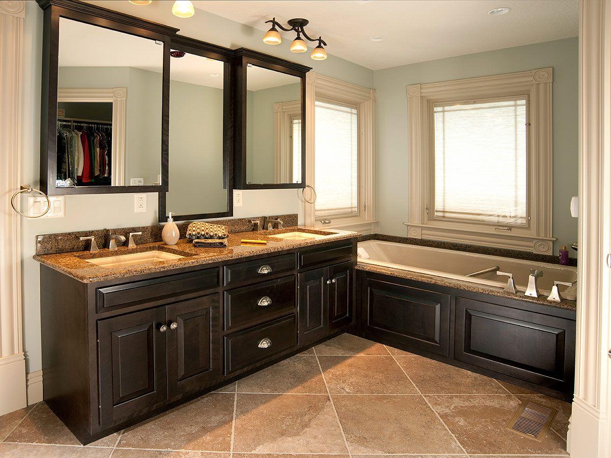 Corner window kitchen sink  contemporary bathtub with black wainscoting or corner window idea