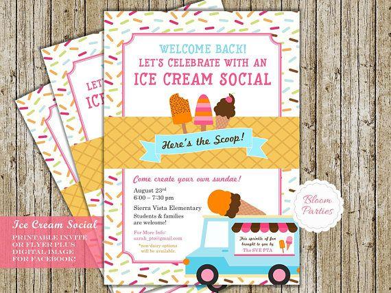 Ice Cream Social Invitation for School PTA PTO Ice Cream Party, Church or Community Event Flyer Poster Announcement