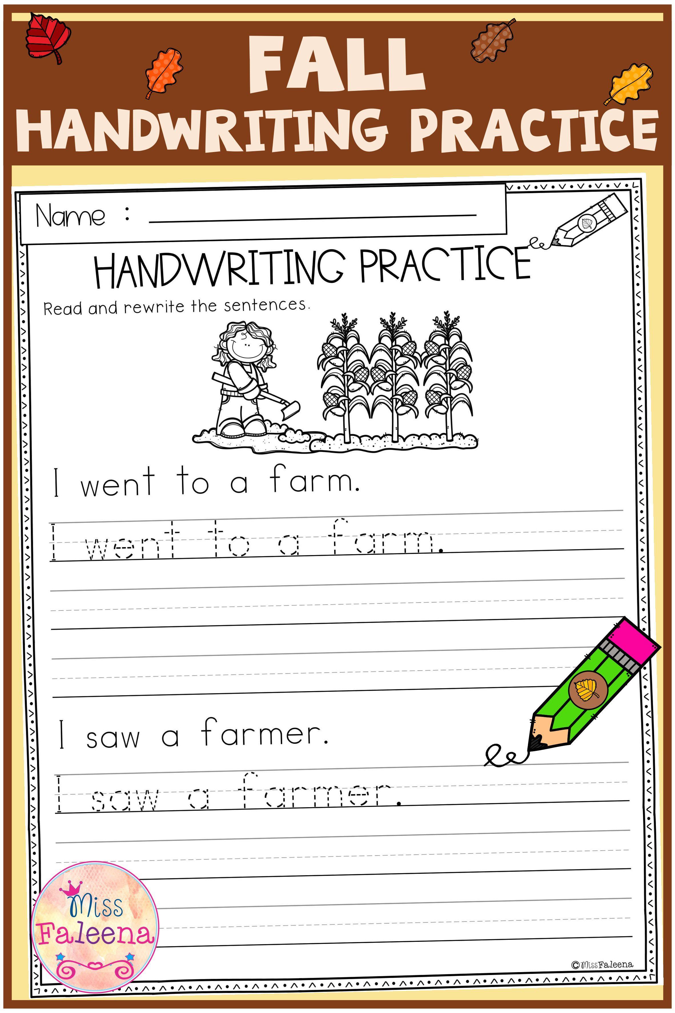 Fall Handwriting Practice Di