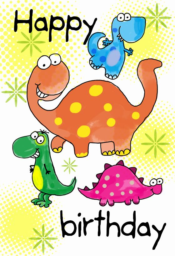 Photo of Geburtstagskarten für Kinder Awesome Four Cute Dinosaurs Birthday Card
