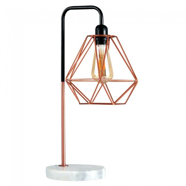 Industrial Style Talisman Copper Table Lamp With White Marble
